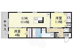 ラ・マーサ 1階2LDKの間取り