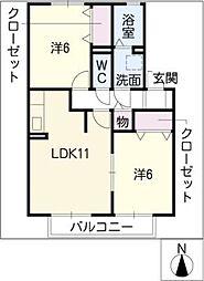 サンピュア鳴子台[2階]の間取り