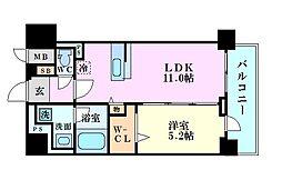 セレーナ・コンフォルト天神橋 2階1LDKの間取り
