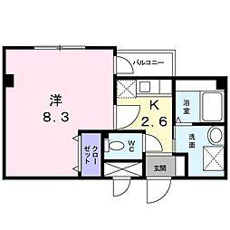 福岡県北九州市八幡西区上の原2丁目の賃貸アパートの間取り