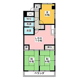 シャンポール鴻の巣[4階]の間取り