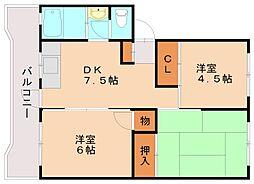 福岡県福岡市南区若久3丁目の賃貸マンションの間取り