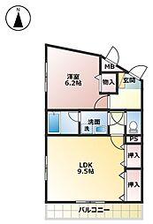 京屋ハイツ I[2階]の間取り