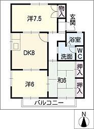 セジュール清里[1階]の間取り