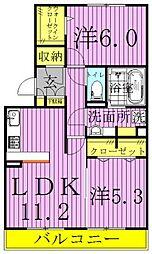 オ・ソレイユABIKO[2階]の間取り