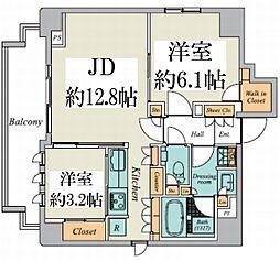 東京メトロ丸ノ内線 御茶ノ水駅 徒歩9分の賃貸マンション 10階2LDKの間取り