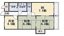 プライム守口[4階]の間取り