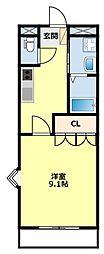 愛知県豊田市御船町山屋敷の賃貸マンションの間取り