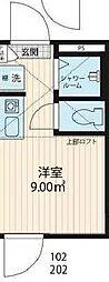 JR総武線 大久保駅 徒歩5分の賃貸アパート 1階ワンルームの間取り