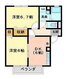 栃木県宇都宮市茂原町の賃貸アパートの間取り