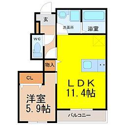 仮)H・K様賃貸アパート6期A棟新築[1階]の間取り