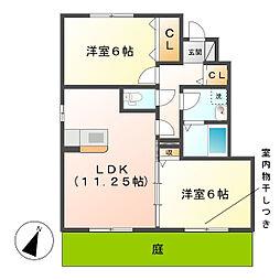 岡山県倉敷市東塚3丁目の賃貸アパートの間取り