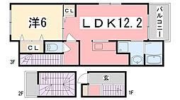 兵庫県姫路市三条町一丁目の賃貸アパートの間取り