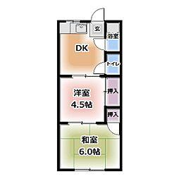 長池荘[6号室]の間取り
