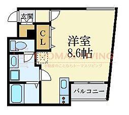 福岡市地下鉄空港線 唐人町駅 徒歩5分の賃貸マンション 1階ワンルームの間取り