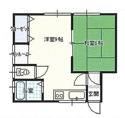 JR左沢線 東金井駅 陣場口下車 徒歩15分の賃貸アパート 1階1LDKの間取り