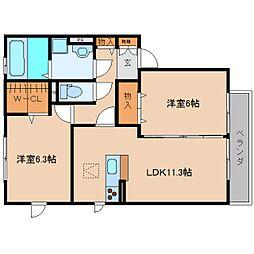 奈良県香芝市高山台の賃貸アパートの間取り