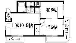 兵庫県宝塚市清荒神1丁目の賃貸マンションの間取り