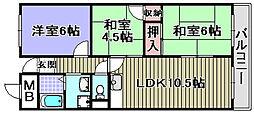 ガーデンハイツ飯坂2[205号室]の間取り