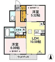 神奈川県相模原市緑区二本松4丁目の賃貸アパートの間取り