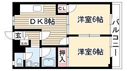 愛知県名古屋市名東区極楽3丁目の賃貸アパートの間取り