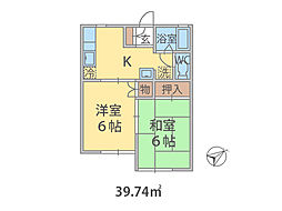 千葉県鎌ケ谷市北中沢の賃貸アパートの間取り