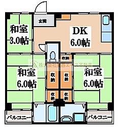 ビレッジハウス伏屋10号棟[5階]の間取り