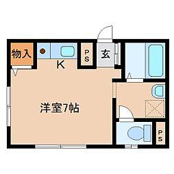 奈良県奈良市西新在家号所町の賃貸マンションの間取り