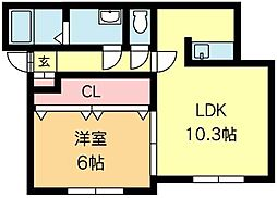 北海道札幌市南区南沢四条4丁目の賃貸アパートの間取り