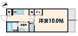 チェリーコート小野原 3階1Kの間取り