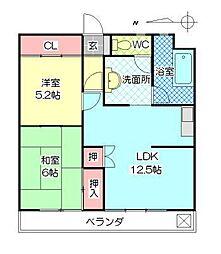 碩田ハイツ[203号室]の間取り