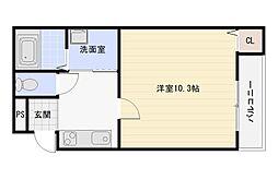 大阪府大阪市平野区長吉川辺2丁目の賃貸アパートの間取り