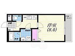 阪急甲陽線 甲陽園駅 徒歩17分の賃貸マンション 3階1Kの間取り