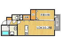 阪神本線 岩屋駅 徒歩2分の賃貸アパート 1階1LDKの間取り