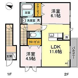 新築D-roomセジュール湘南[2階]の間取り