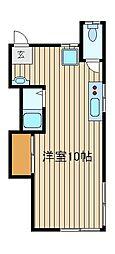 西武池袋線 椎名町駅 徒歩10分の賃貸アパート 2階ワンルームの間取り