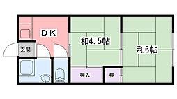 武庫川コーポ[B-1号室]の間取り