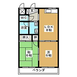 ペルアー大坪[1階]の間取り