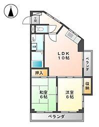 愛知県名古屋市北区落合町の賃貸マンションの間取り