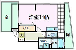 阪急甲陽線 苦楽園口駅 徒歩5分の賃貸マンション 1階ワンルームの間取り