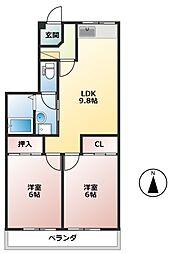 シティハイツ上面[2階]の間取り