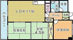 福岡県北九州市小倉南区下石田1丁目の賃貸マンションの間取り