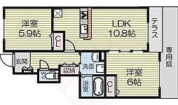 泉北高速鉄道 深井駅 徒歩28分の賃貸アパート 1階2LDKの間取り