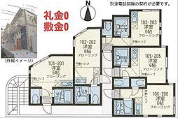ユナイト富士見 ベル・エポック[106号室]の間取り