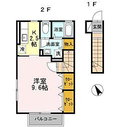 東京都羽村市小作台2丁目の賃貸アパートの間取り