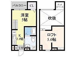 阪堺電気軌道阪堺線 我孫子道駅 徒歩2分の賃貸アパート 1階ワンルームの間取り