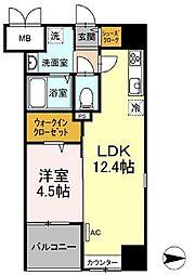 都営浅草線 蔵前駅 徒歩4分の賃貸マンション 3階1LDKの間取り