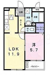 ラ・ルーチェ 1階1LDKの間取り