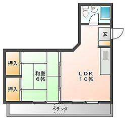 若鶴マンション[2階]の間取り