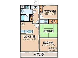 京都府宇治市広野町中島の賃貸マンションの間取り